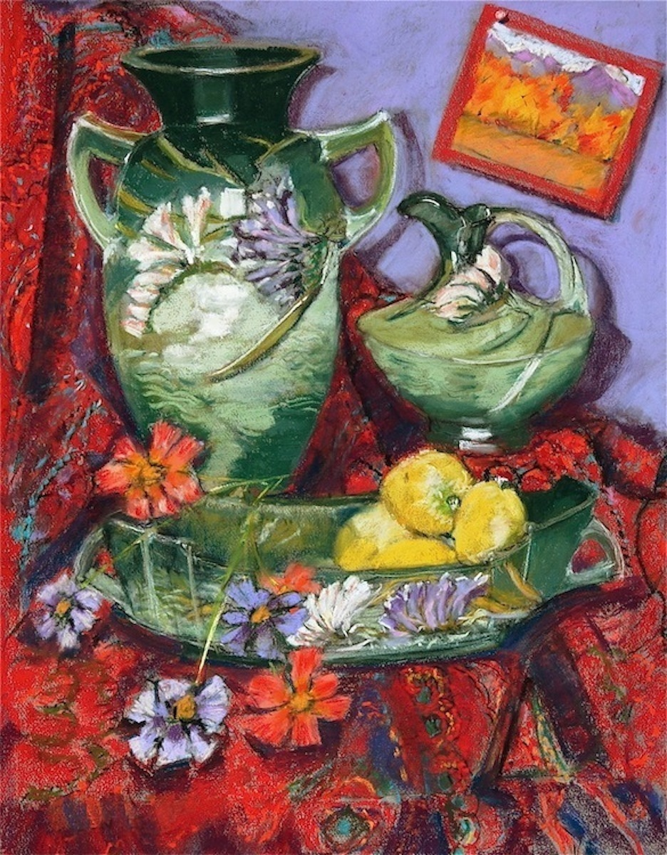 Traditional painting of Roseville art pottery pieces in Green Freesia from my personal collection. (large view)