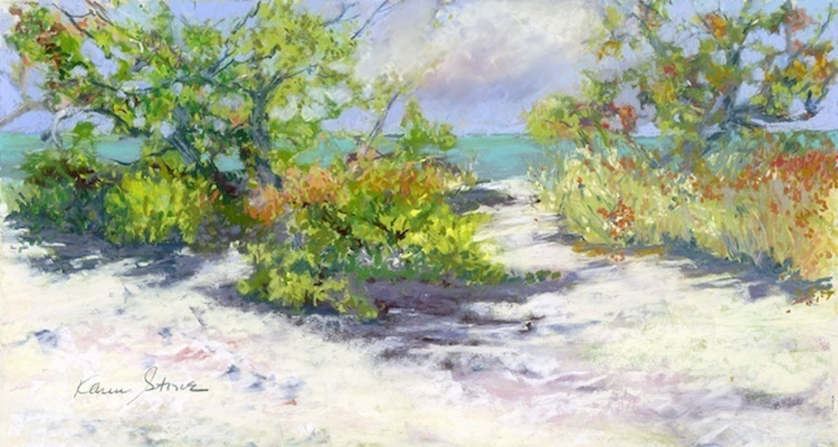Karen Stone, Pastel, Pastel Artist, Beach Run #1, Beach Scene, Gulf of Mexico, Platinum Coast, Sandy Beach, State Parks, Florida (large view)