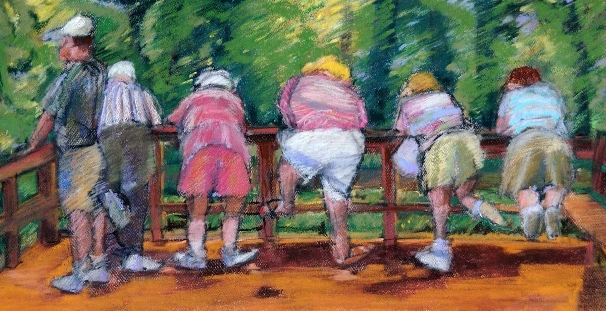 """We Looking at them, Looking at Us"" an early Pastel painting by Karen Stone of Naples Florida.  Karen Stone, Ksstone,  Senior group touring Florida landmark state park, the Facahatchee Strand at Big Cypress. artgalleryoldnaples2.com (large view)"