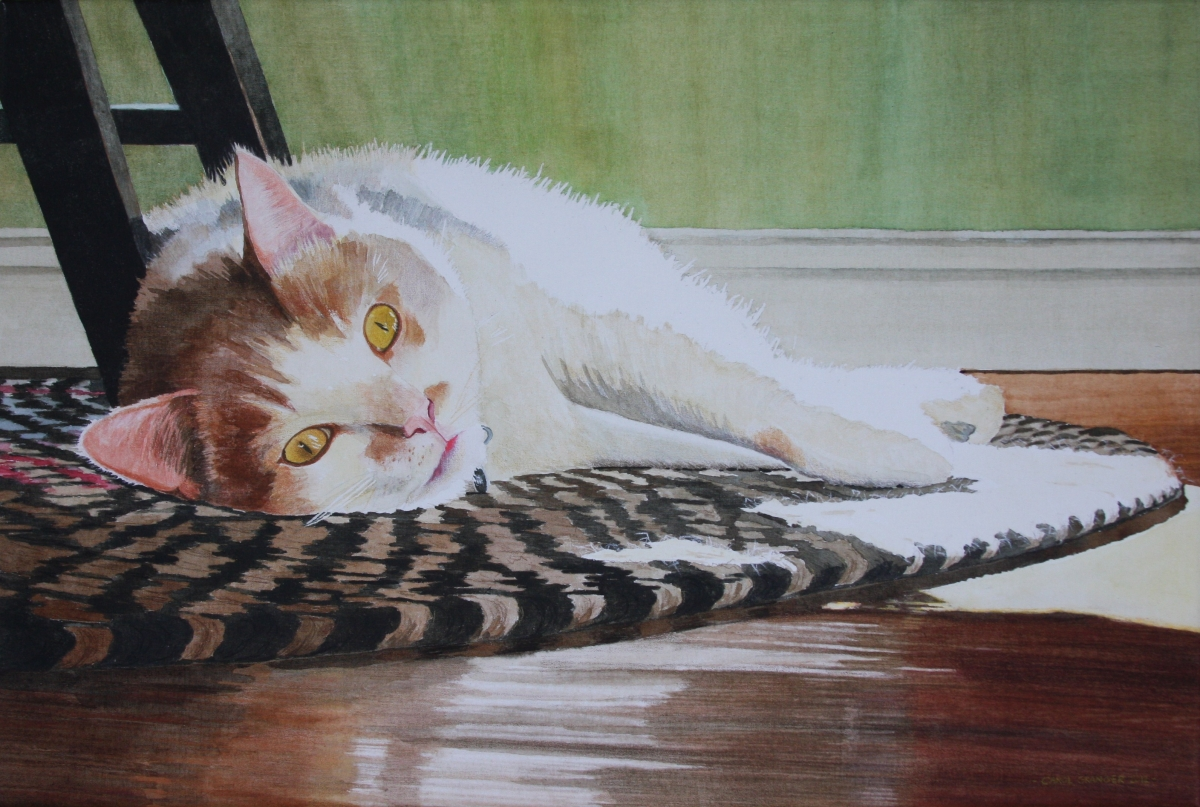 Watercolor/colored pencil painting on wet media canvas.  Cat portrait, orange and white, lying on floor in the sunshine. (large view)