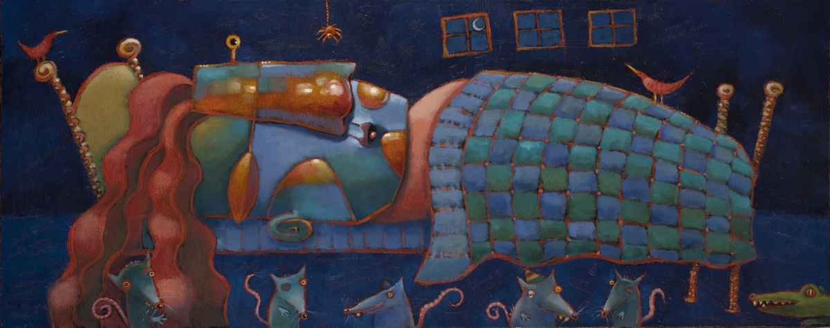 original colorful whimsical narrative oil painting by Brenda York (large view)