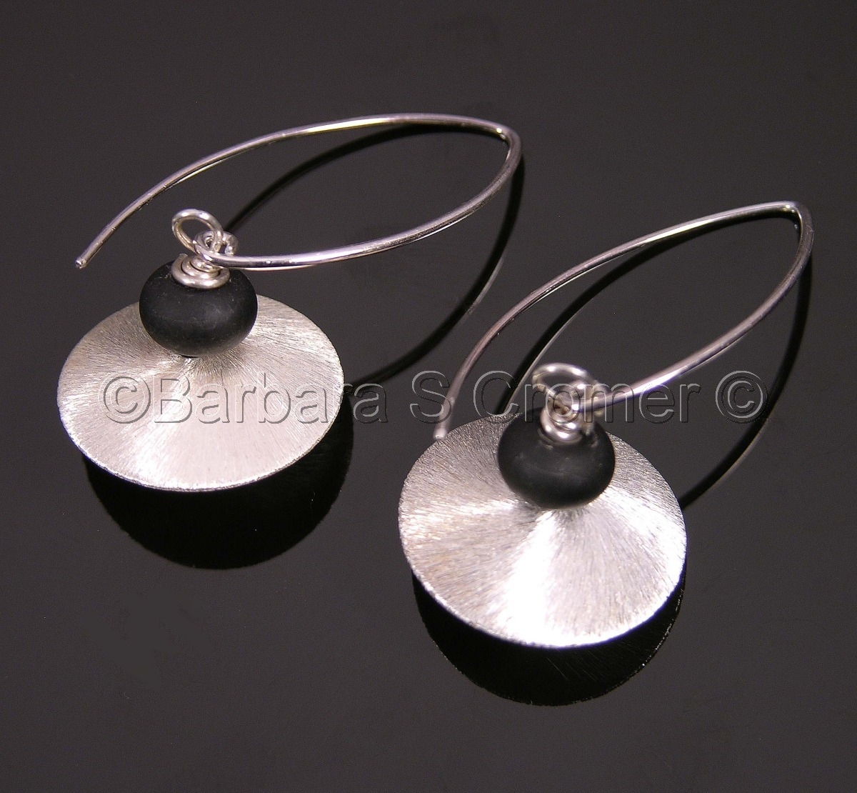 Sterling silver with black lamp work earrings (large view)
