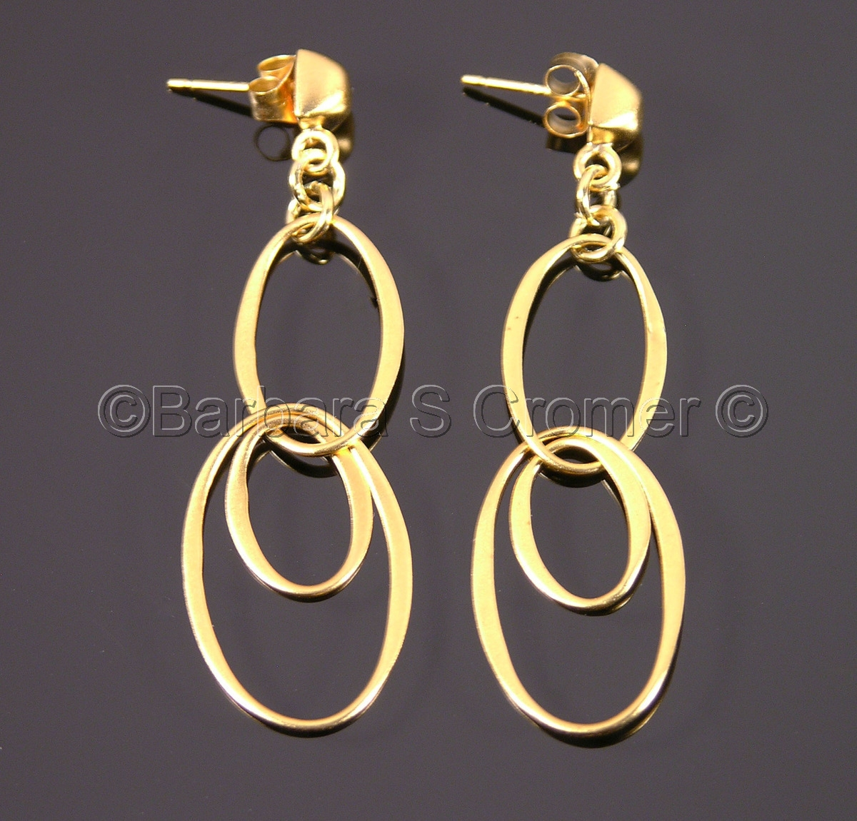 Vermeil oval scribble chain earrings (large view)