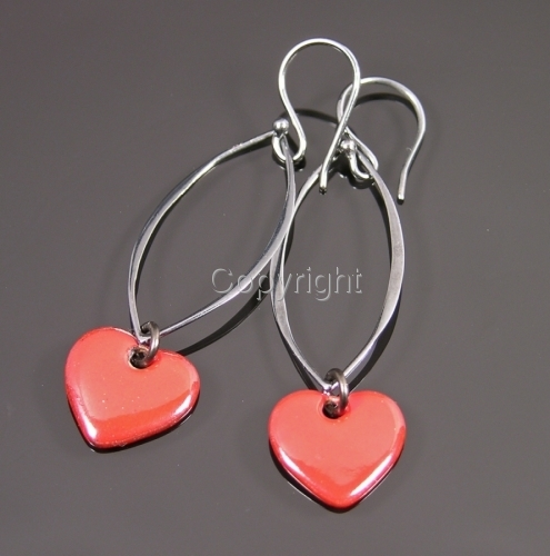 Passionately red enamel heart earrings (large view)