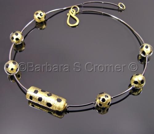 Leopard Venetian and gunmetal necklace