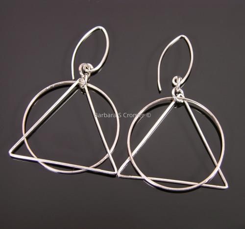 Simple silver geometry earrings (large view)