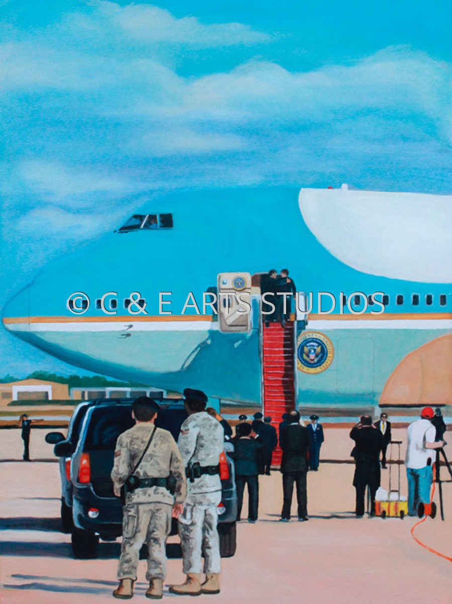 Boarding Air Force One for March Madness (large view)