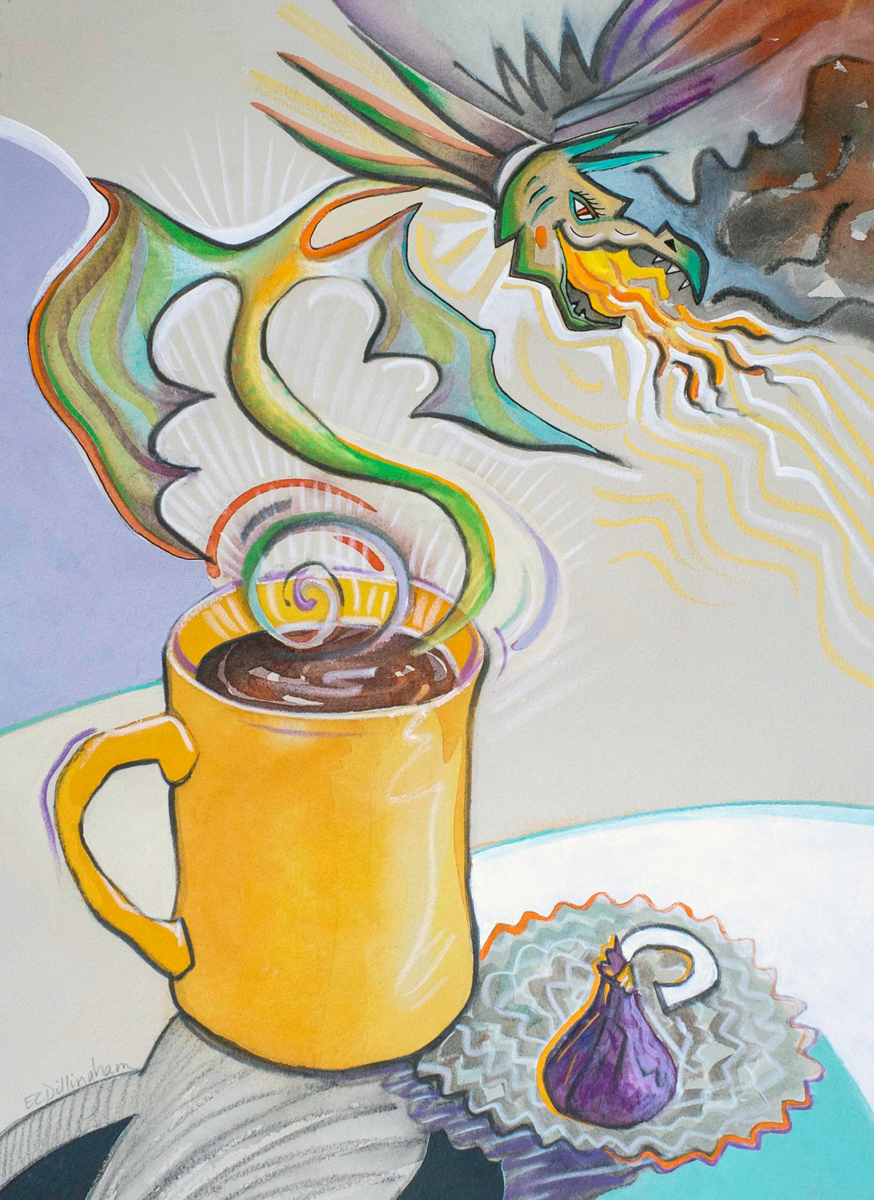 Morning Coffee with Dragon and Chocolate (large view)