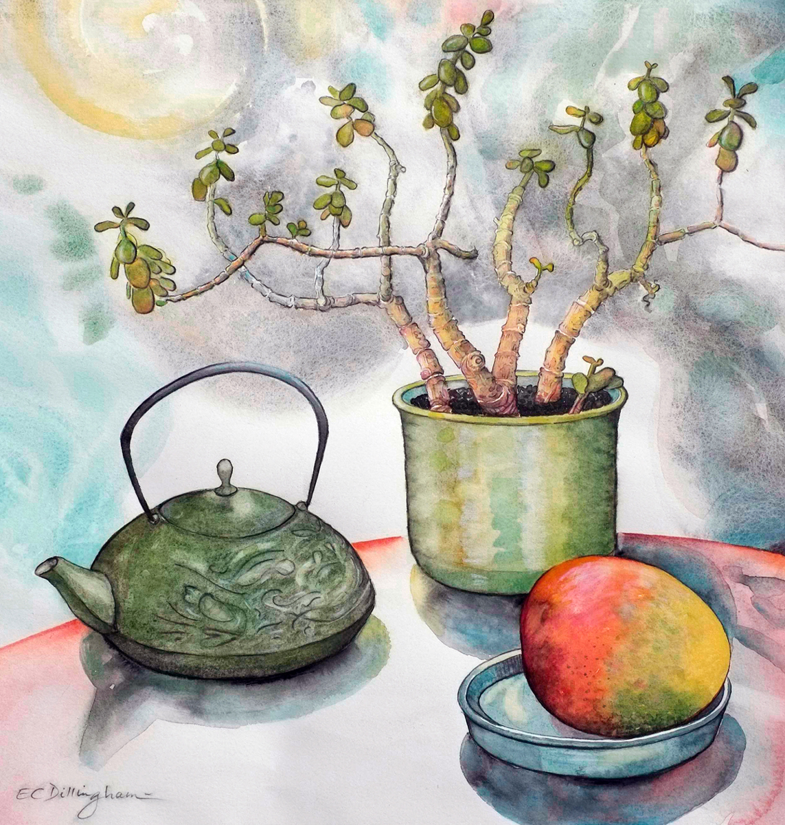 Teapot with Jade Plant and Mango (large view)