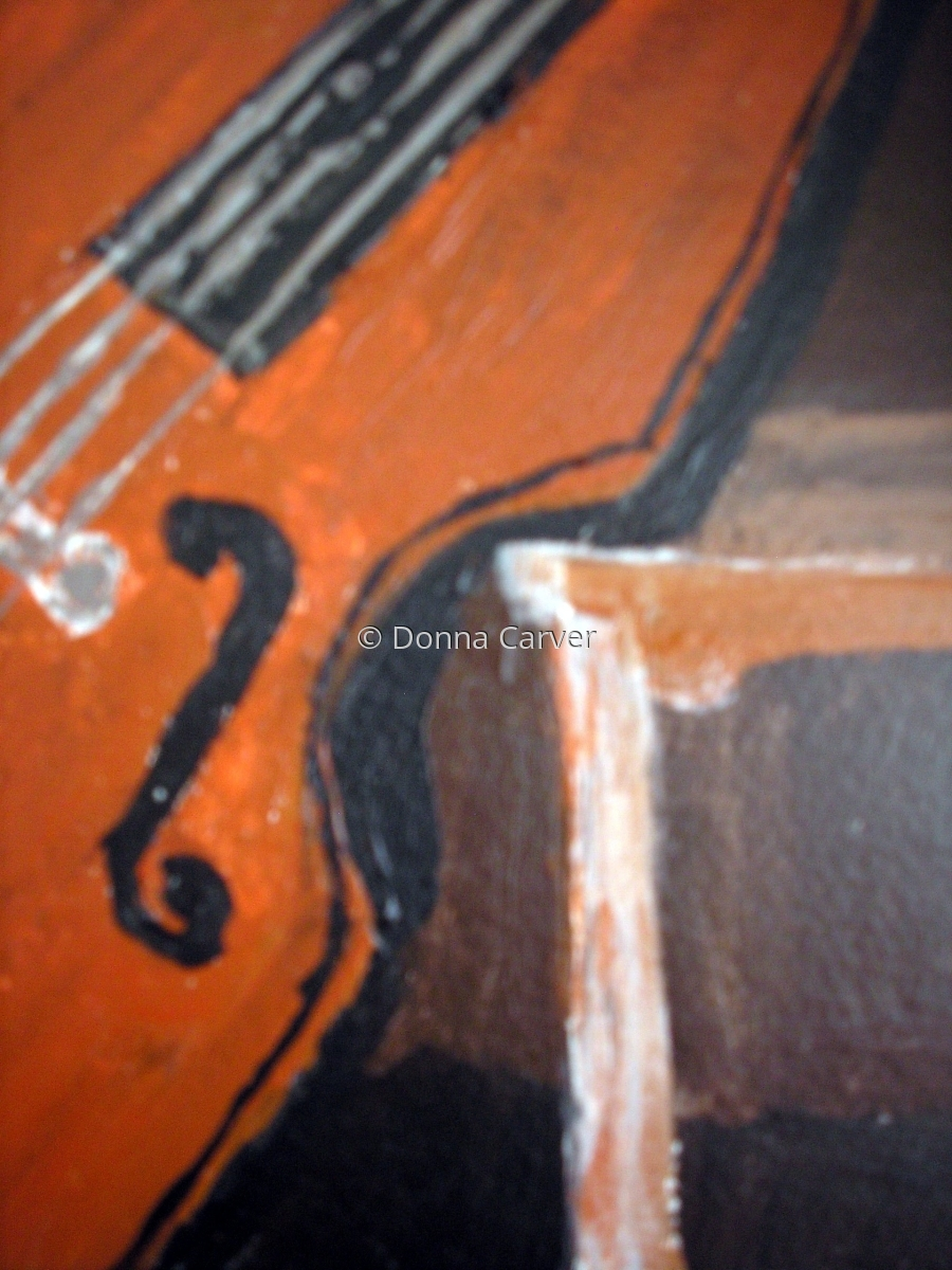 Cello Resting on Bench-SOLD (large view)