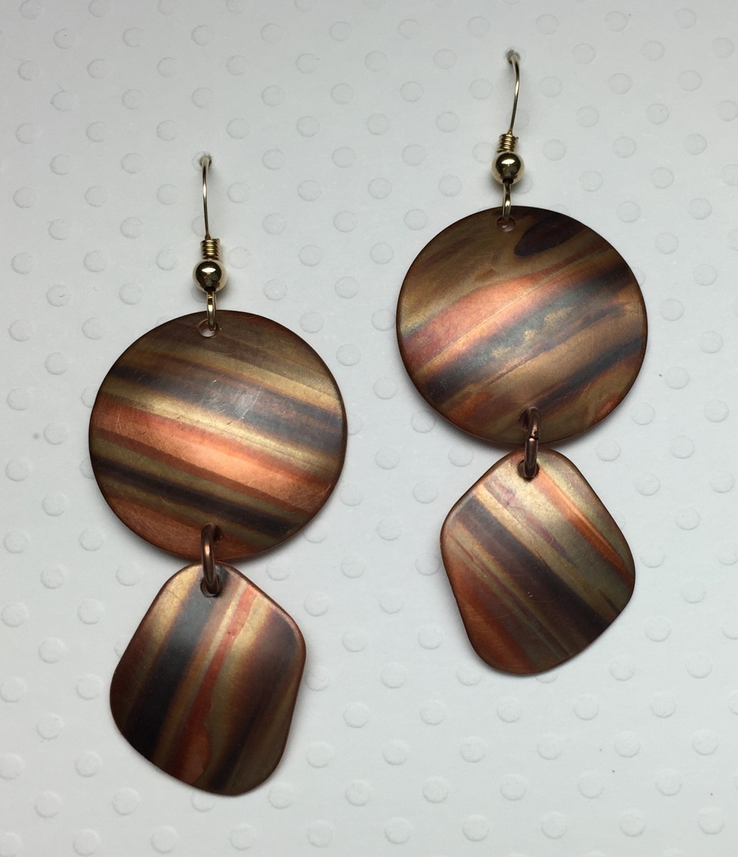 Striped Copper Two Piece Earrings (large view)