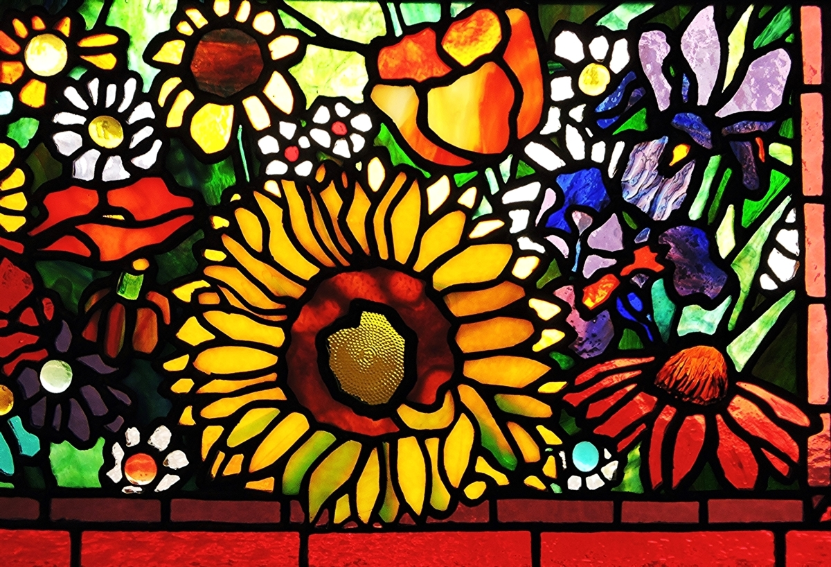 BEER BOTTLE, MARBLE, WINE GLASS SUNFLOWER STAINED GLASS PANEL (large view)