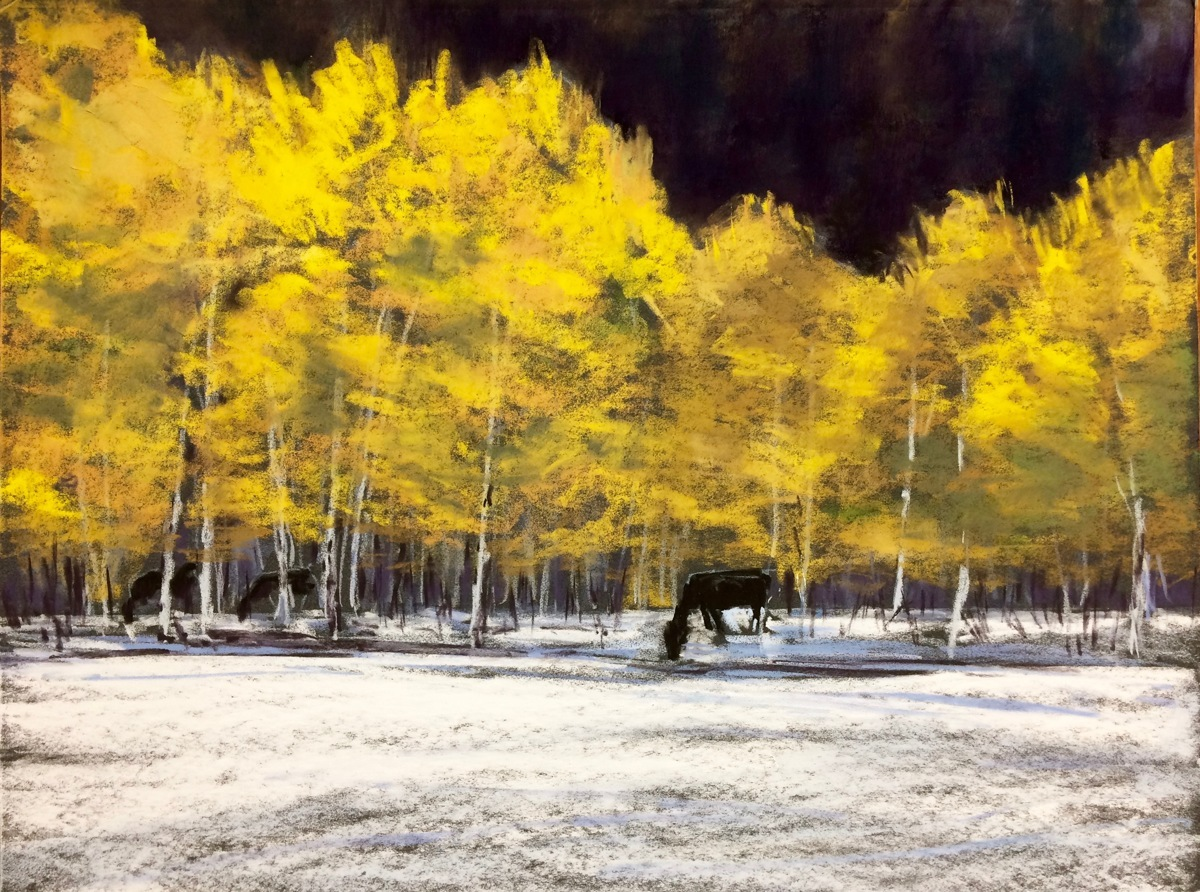 Aspens and Horses (large view)
