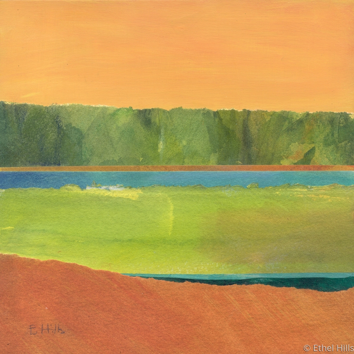 "Ethel Hills - ""Color Block #1 - 8"" panel"". Semi-abstract painting of the salt marsh using collage in orange and green.  (large view)"