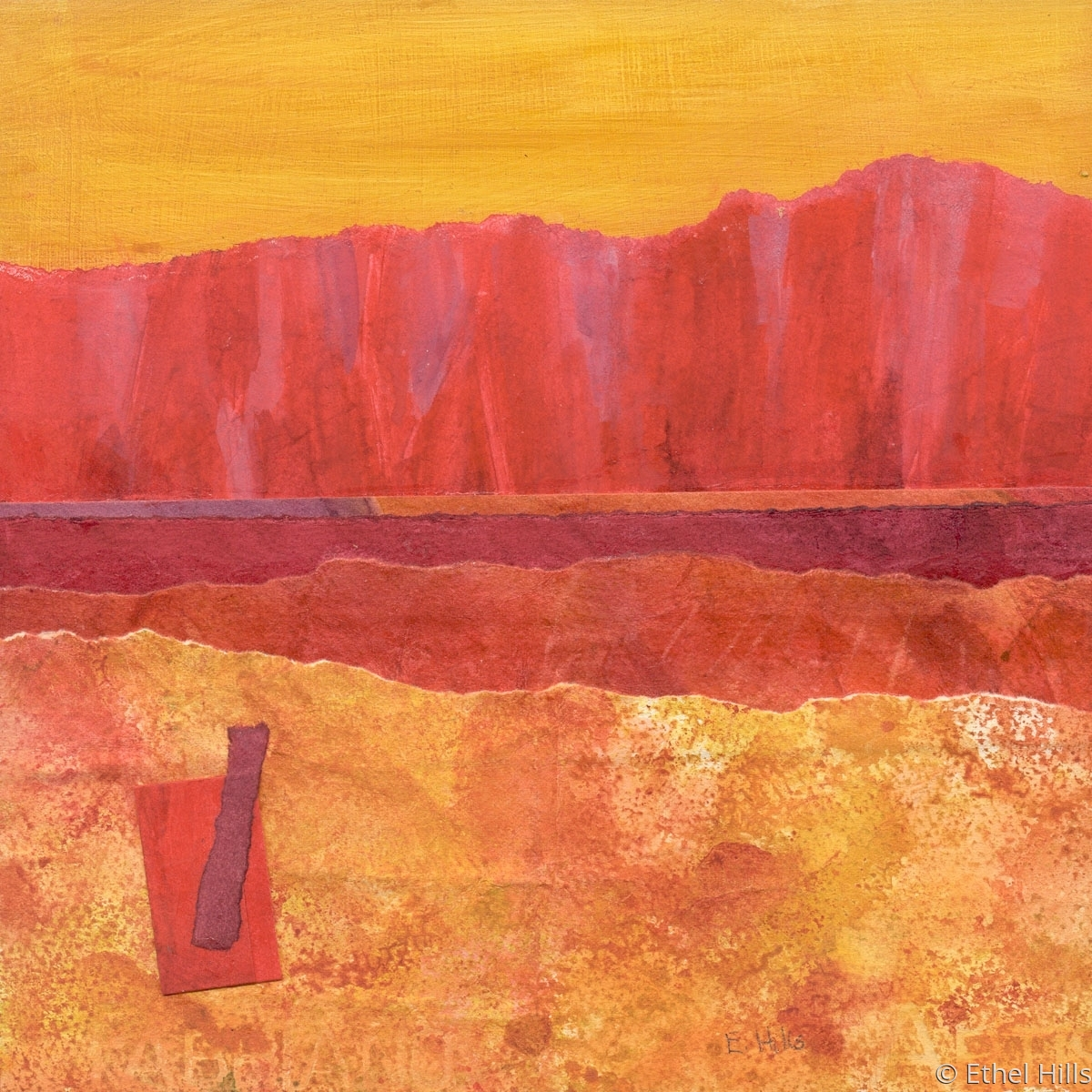 abstract landscape painting in mixed media collage on panel by Ethel Hills in reds. (large view)