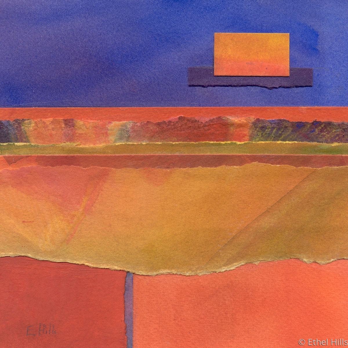 abstract landscape painting in watercolor collage by Ethel Hills in blue and orange (large view)
