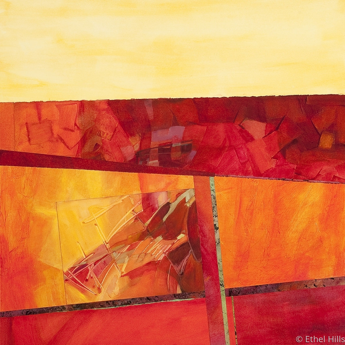 abstract landscape painting in mixed media collage on panel by Ethel Hills in red & yellow. (large view)
