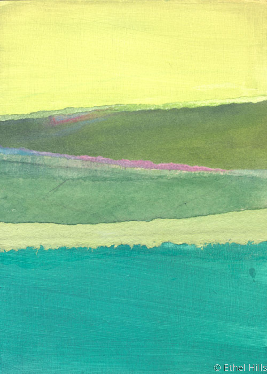 abstract landscape painting in mixed media collage on panel by Ethel Hills in yellow and greens (large view)