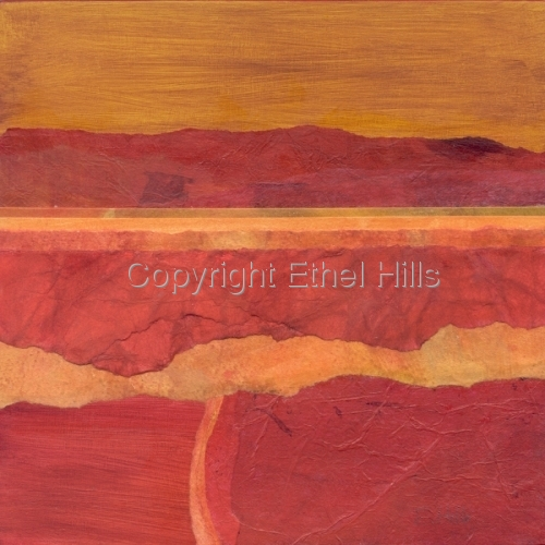 """Ethel Hills - """"Color Block #2 (8 inch panel). Semi-abstract landscape painting in reds & yellow. (large view)"""
