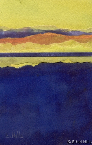 abstract landscape painting in mixed media collage on paper by Ethel Hills in yellow & purple (large view)