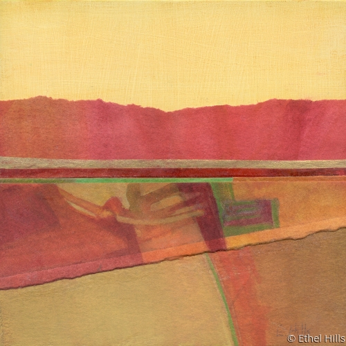 abstract landscape painting in mixed media collage by Ethel Hills in reds & yellows (large view)