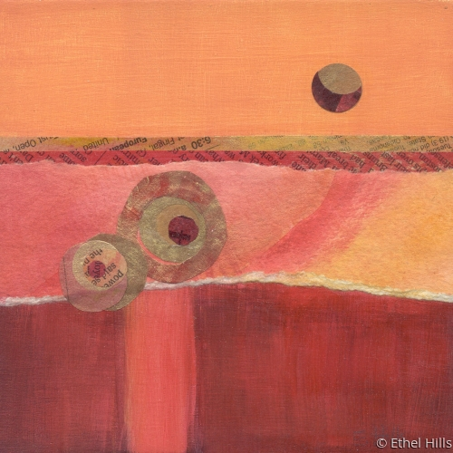 abstract landscape painting in mixed media collage by Ethel Hills in reds & pink. (large view)