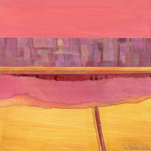 abstract landscape painting in mixed media collage by Ethel Hills in yellow and pink. (large view)
