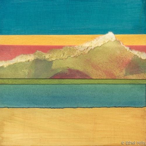 abstract landscape painting in mixed media collage by Ethel Hills in yellow and blue (large view)