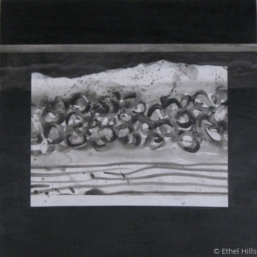 abstract seascape painting in mixed media collage on panel by Ethel Hills in black & white (large view)