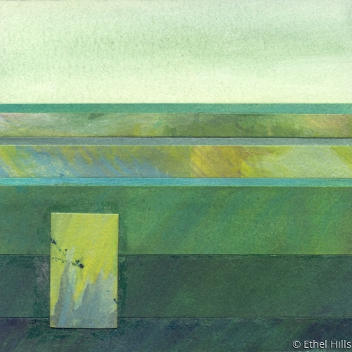 abstract landscape painting in mixed media collage on panel by Ethel Hills in greens (large view)
