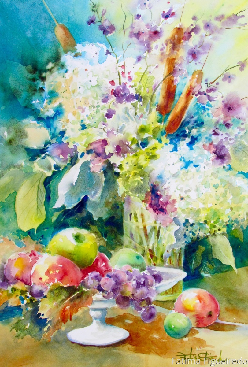 Fruits, hydrangeas and cattails (large view)