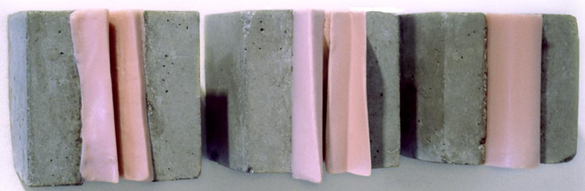 """Cast concrete and cast encaustic cubes. Each cube 4x4x6"""" ( approx) (large view)"""