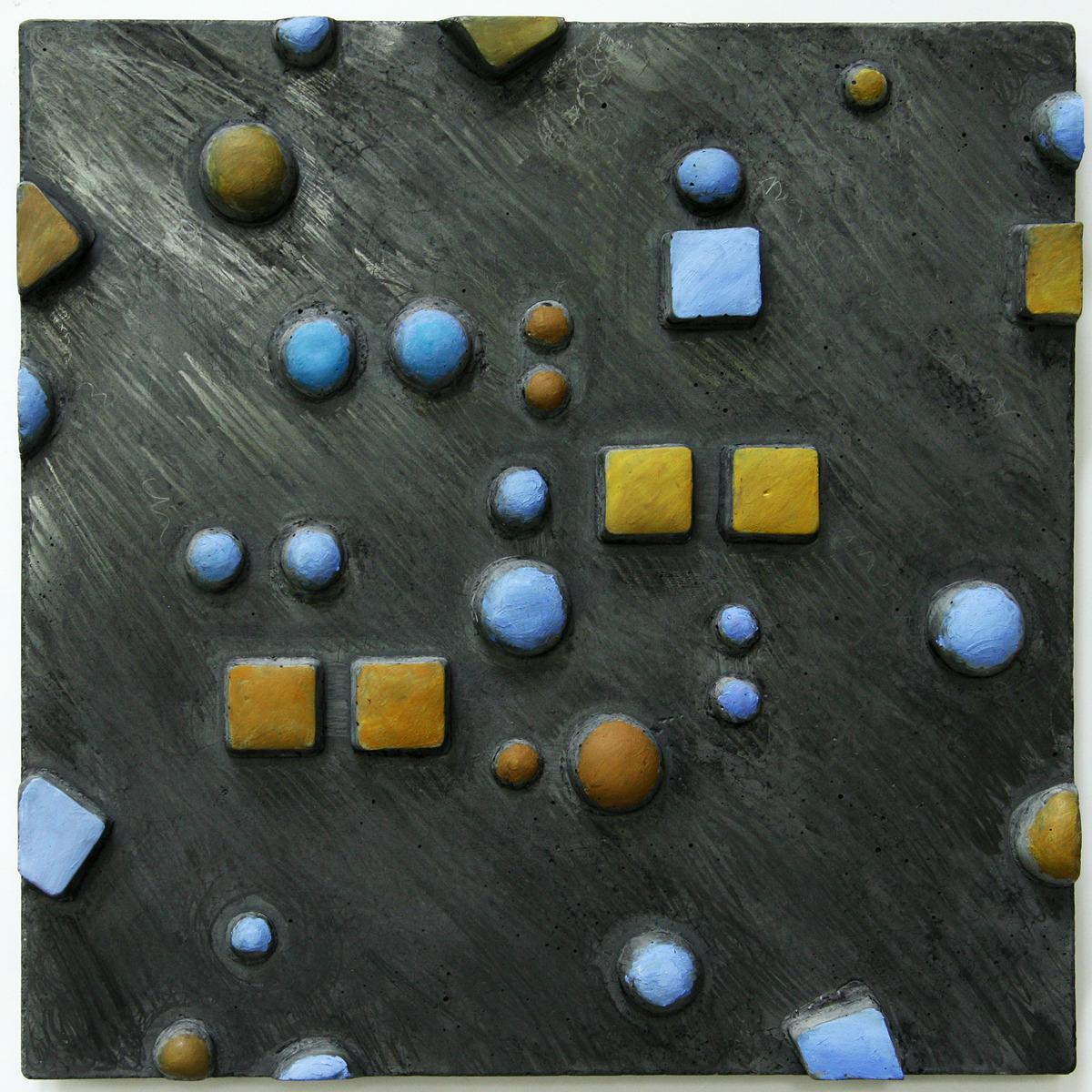 cast concrete, oil pastel, sculpture, bas relief, abstract (large view)