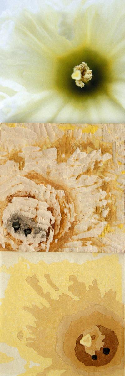 working process, photography, printmaking, woodblock, floral, Gene Berg, Eugenie Berg (large view)