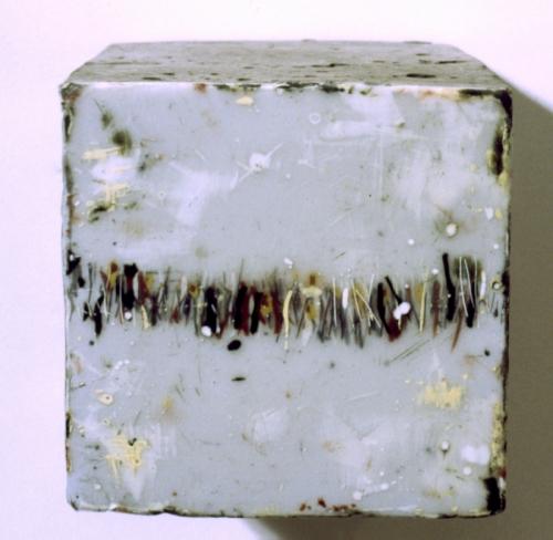 """Cast concrete cube with encaustic paint, 4x4x4"""" (large view)"""