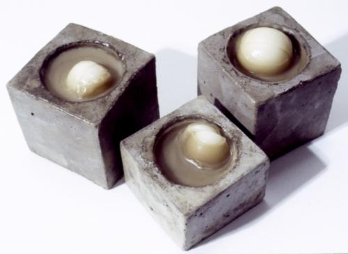 Cast concrete and cast encaustic (large view)