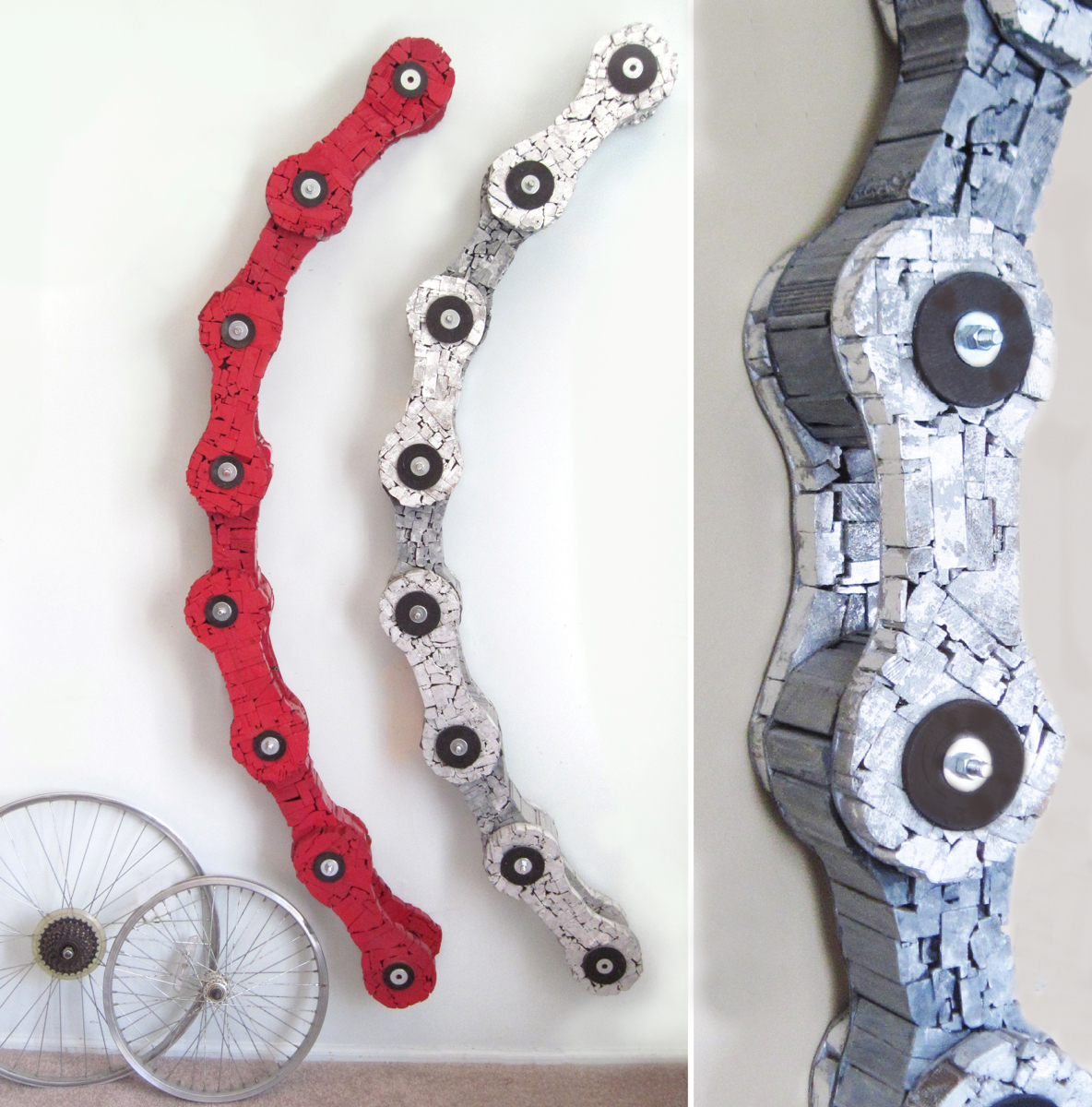 Red Bike Chain and Silver Bike Chain (large view)