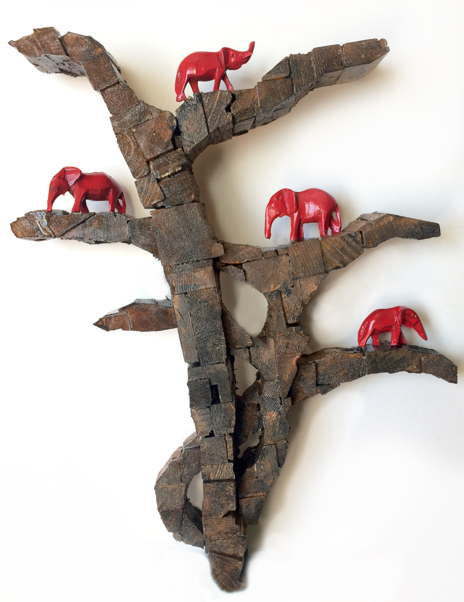 Red Elephants in Trees (large view)