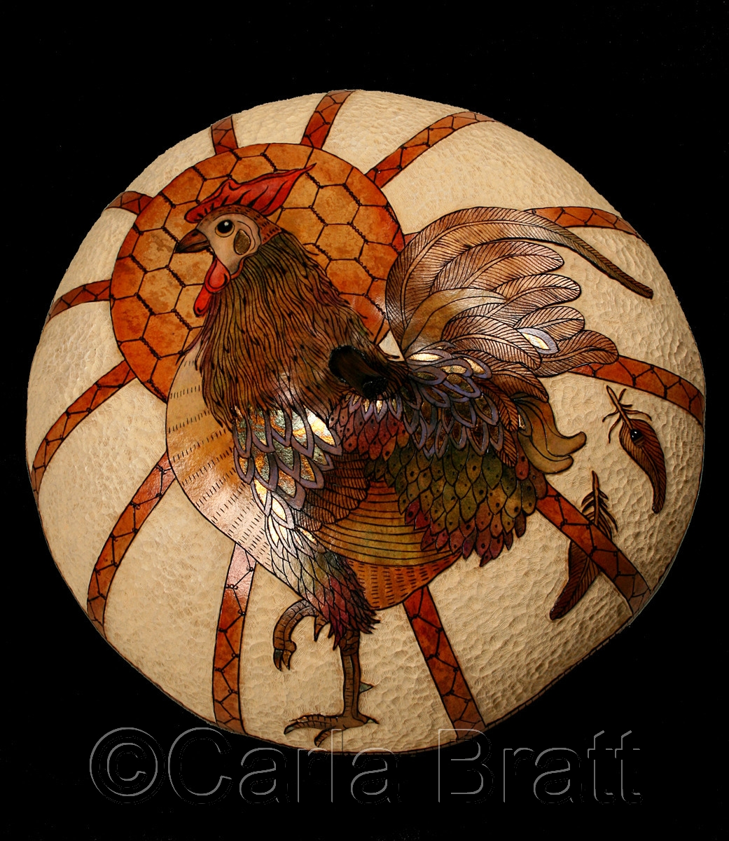 Large, fine art gourd with rooster, sun and chicken wire design. It is wood burned, carved & hand painted with blues, browns, oranges, reds, purple, greens & accent black . By gourd artist & printmaker, Carla Bratt (large view)