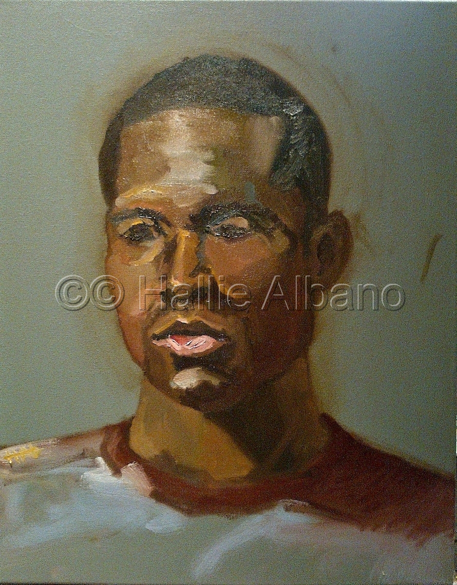 oil painting of live african american male model (large view)