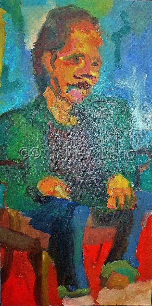 oil painting of a seated male,portrait painting in oil,soutine inspired art,artwork,painting (large view)