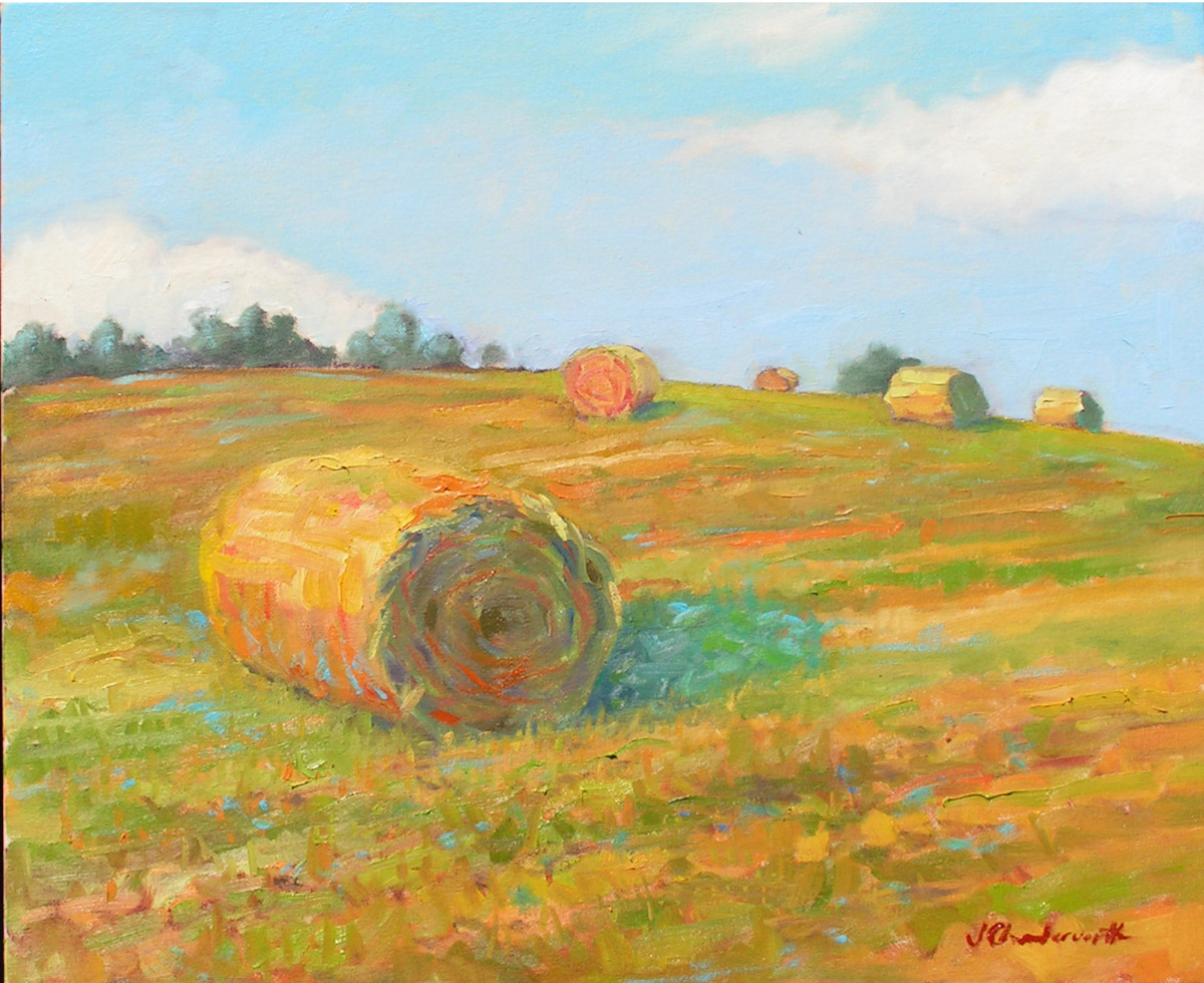 Bales of Hay on Farm Field Slope (large view)