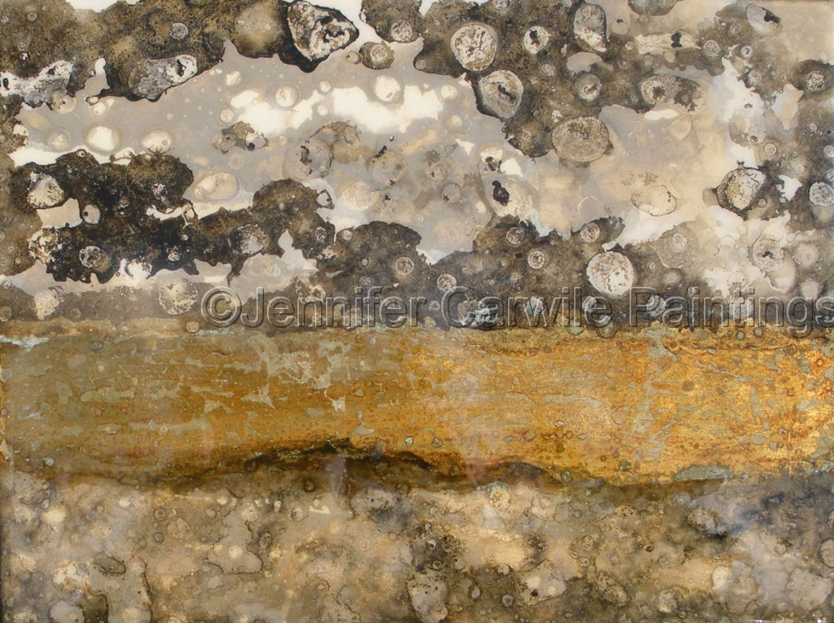 neutral, abstract, oil, resin, gray, gold leaf, Jennifer Carwile, Baton Rouge, grey,  (large view)