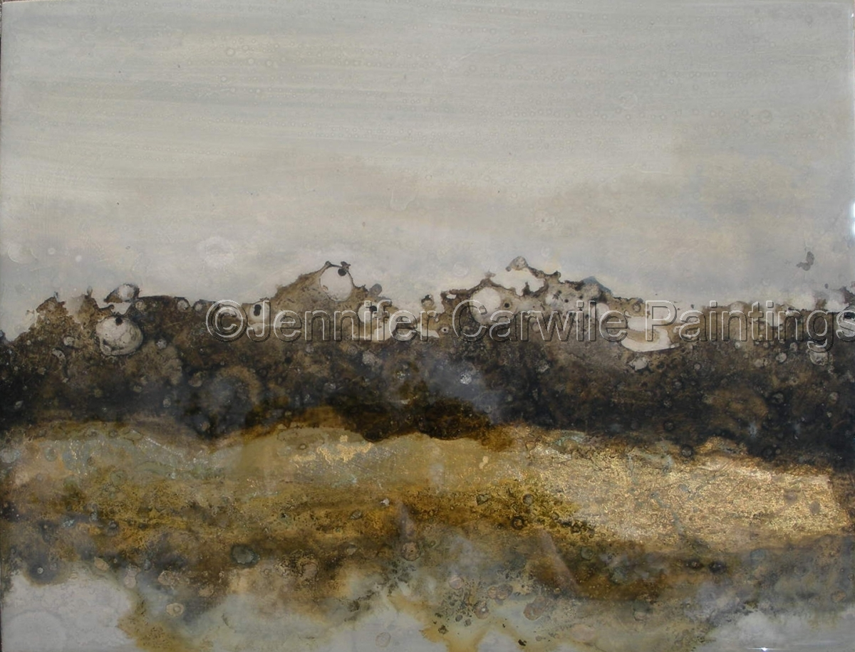 Grey, Gray, Neutral, Smoke, abstract, abstract landscape, Jennifer Carwile, Oil, Resin, Up in Smoke (large view)