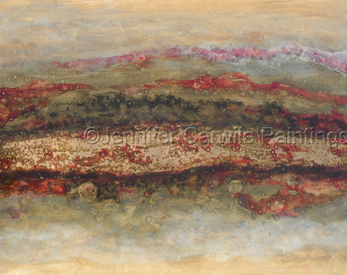 white, grey and red clouds with gold leaf on pine (large view)