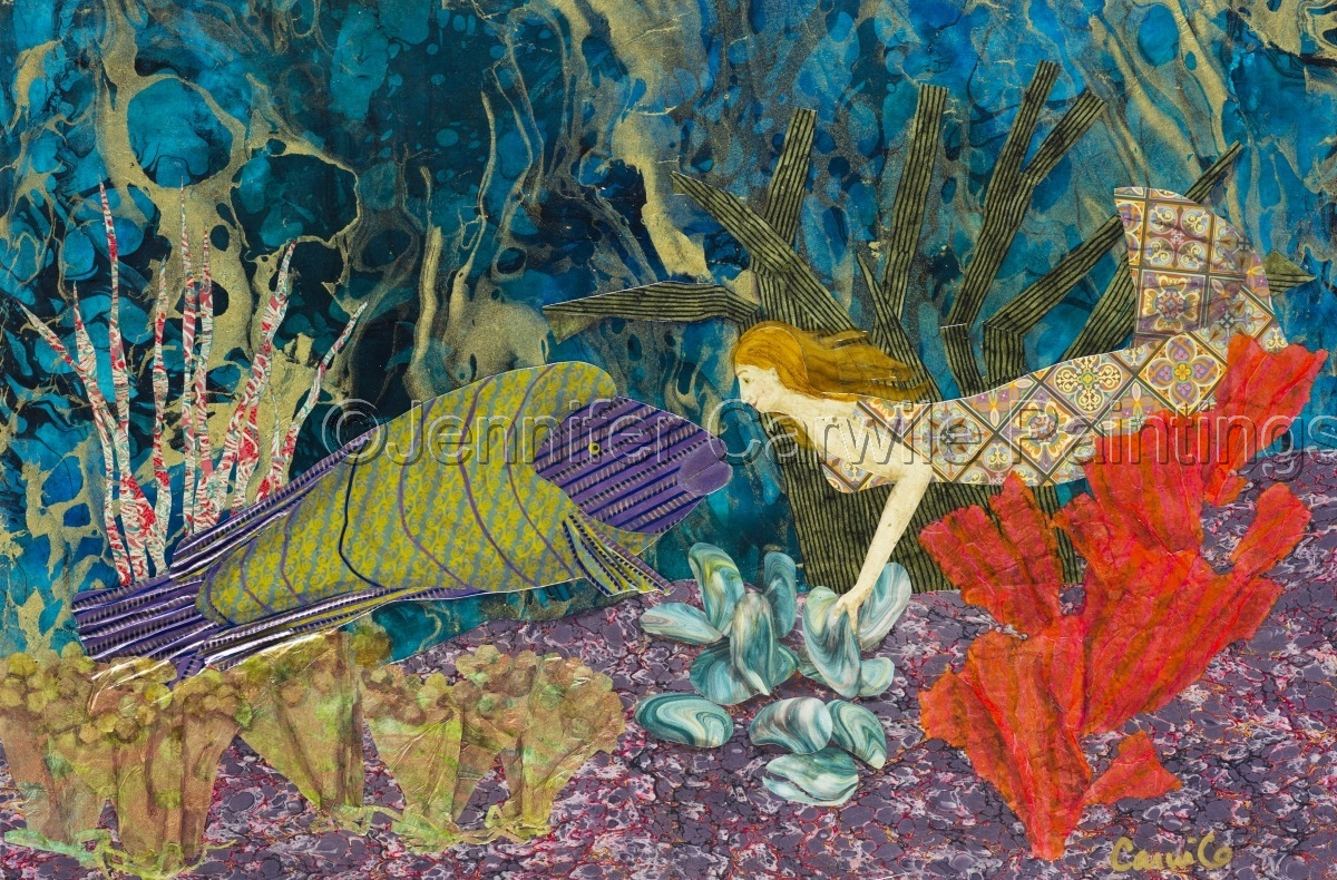 Collage depicting a Mermaid searching for Oysters with a Napolean Wrasse (large view)