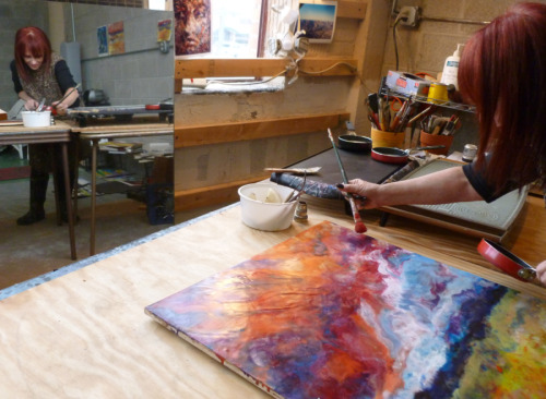 Jerrie Sasson painting in her Pontiac Michigan Studio with Encaustics (large view)
