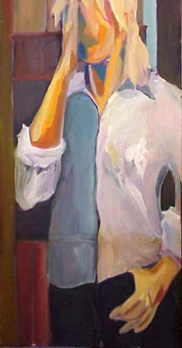 An oil painting of a figure (large view)