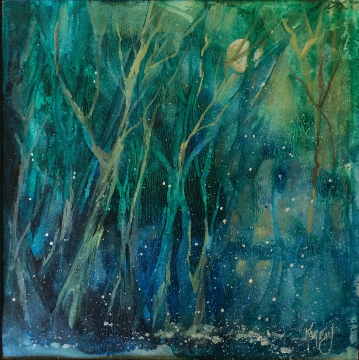 """Firefly Moon, 14 X 14""""  Acrylic  (large view)"""
