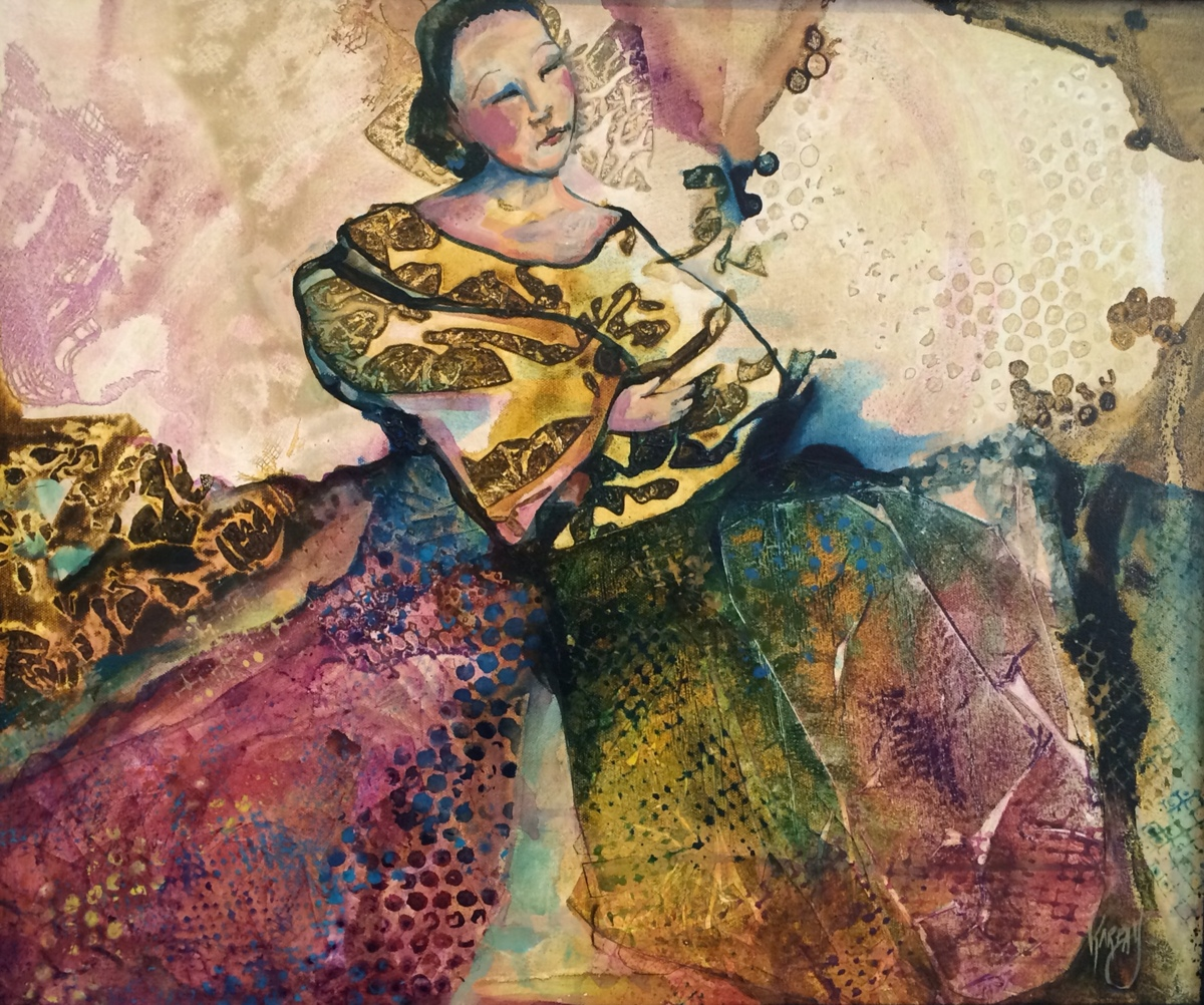 """the Dreaming Dress,  20"""" X 24'  acrylic (large view)"""